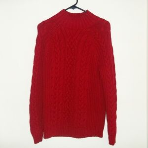 Lands' End Red Cable knit Sweater Large